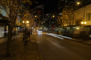 Nighttime on the streets of Seattle