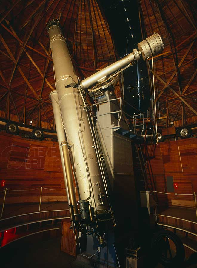 The 24 inch Alvan Clark refractor telescope, used in the discovery of Pluto. Lowell Observatory, Flagstaff, Arizona, photo by Steve Bruno