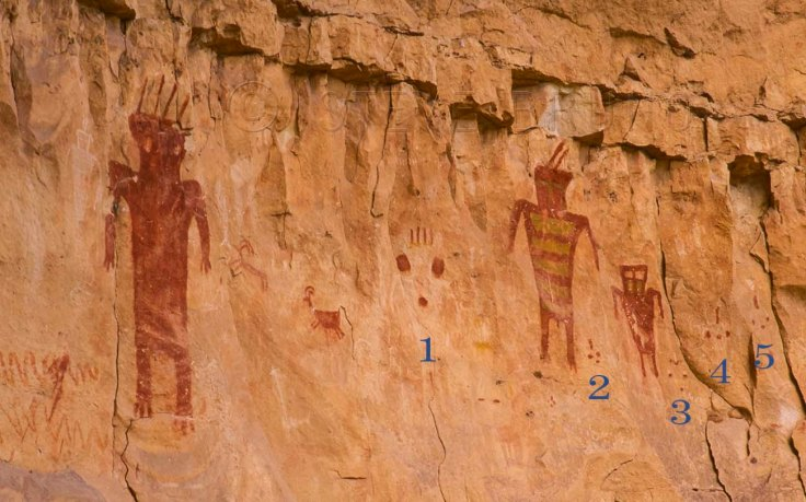 Strange panel of pictographs in the Grand Canyon, Arizona by Steve Bruno