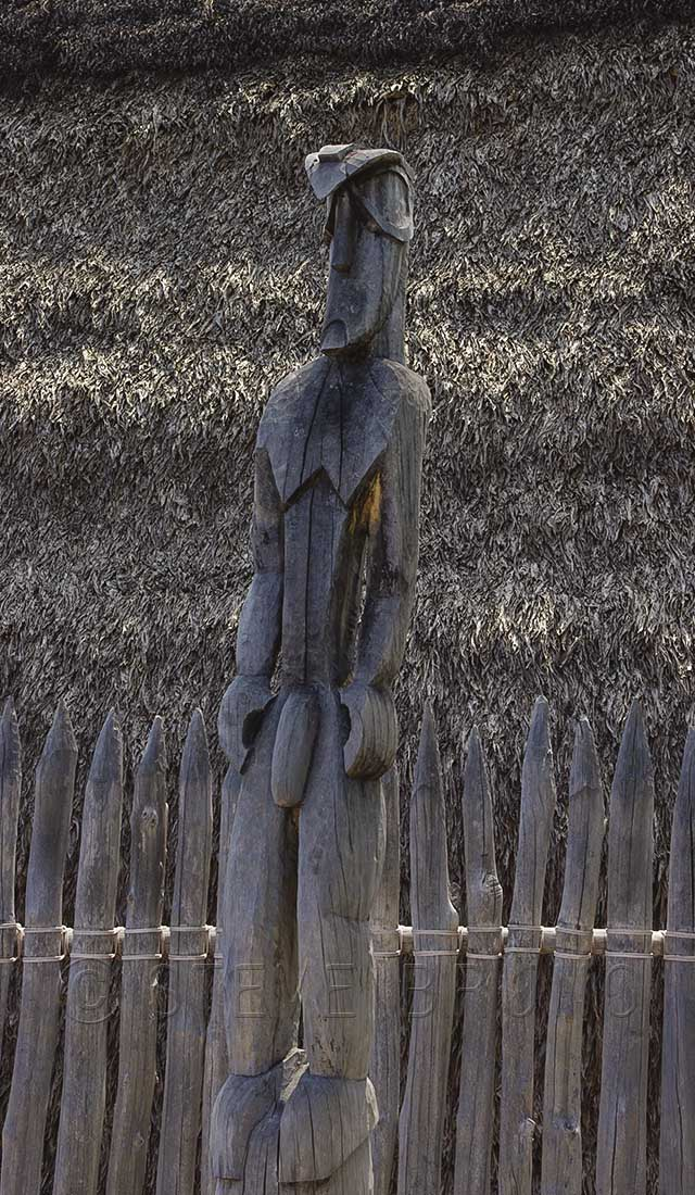 Carved statue in Pu'uhonua o Honaunau National Historical Park, Hawaii by Steve Bruno