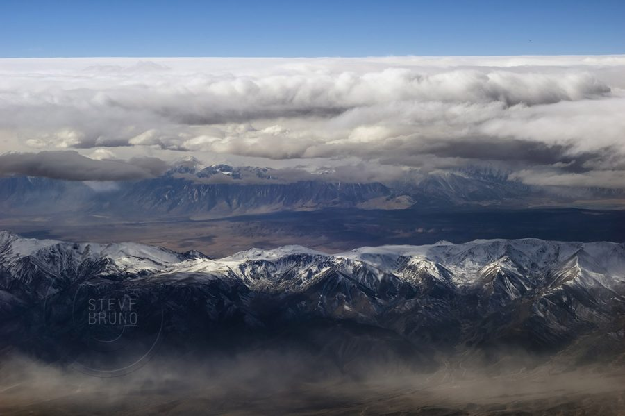 Approaching storm front, Sierra Nevada range, California, aerial photography