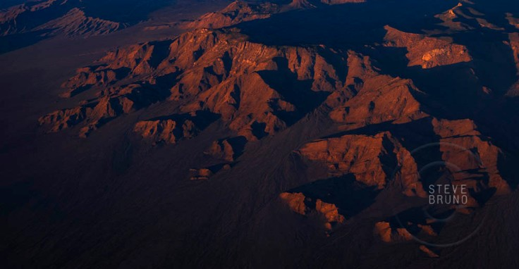 Mountains near Lake Mead at sunset, aerial, Arizona, Steve Bruno