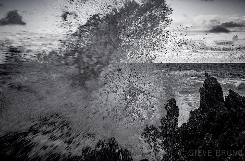 waves, Hawaii, monochrome, Steve Bruno