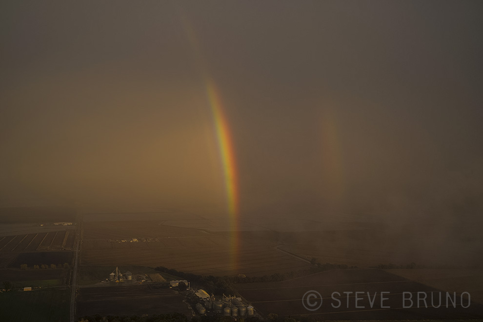 rainbow, sunset, sacramento, california, aerial photography