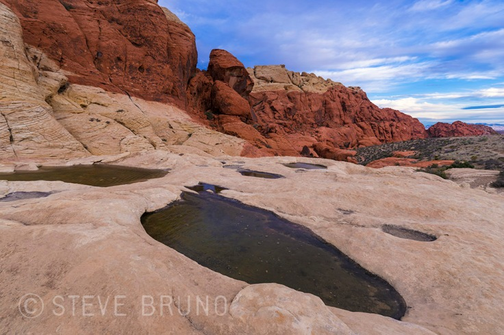 rainwater pools, Red Rock Canyon, Las Vegas, Nevada, Steve Bruno