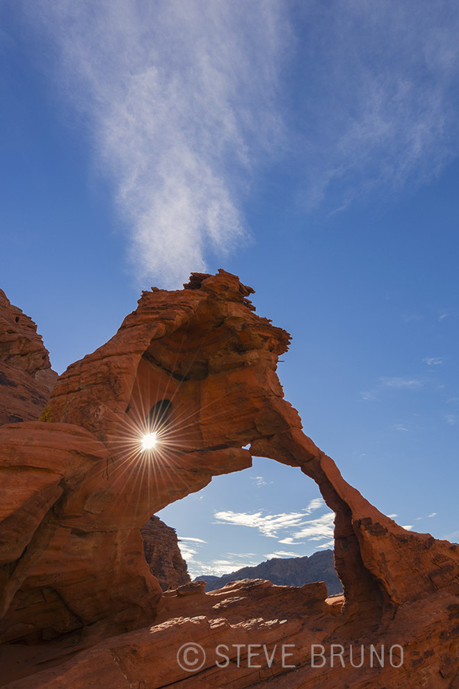 sun, sunburst, desert, red rocks, valley of fire, nevada, steve bruno