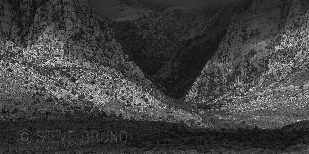 Red Rock Canyon, Nevada, landscape photography, black&white, Steve Bruno