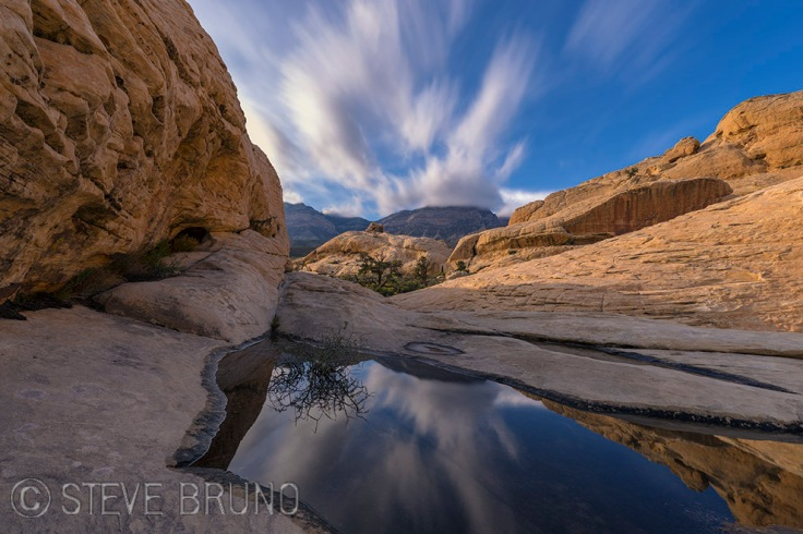 Red Rock Canyon, Nevada, rainwater pool, desert, Steve Bruno, landscape photography