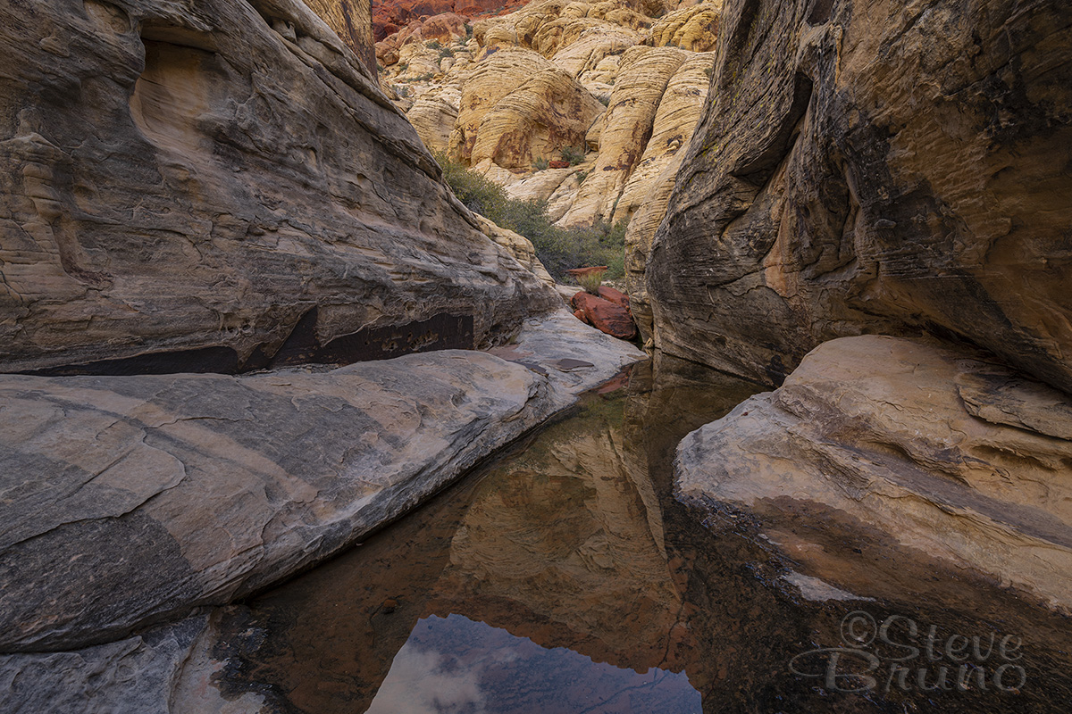 red rock canyon, nevada, las vegas, rain, reflection, hiking, fine art, landscape photography