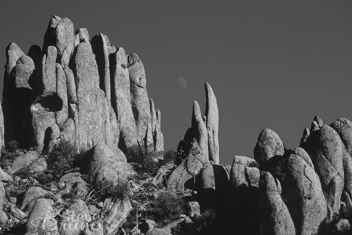 superstition mountains, hoodoos, monochrome, Steve Bruno